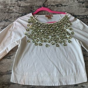 Anthropologie Top with flower embellishment